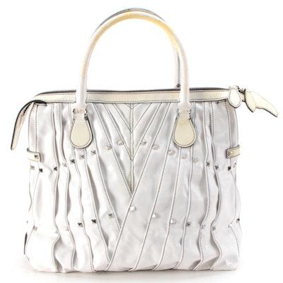 Valentino Pleated Maison Shopper Tote in White Patent Leather