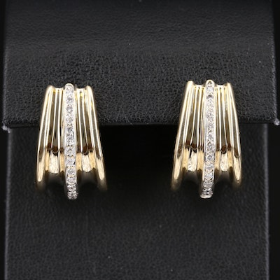 14K Diamond Fluted Hoop Earrings
