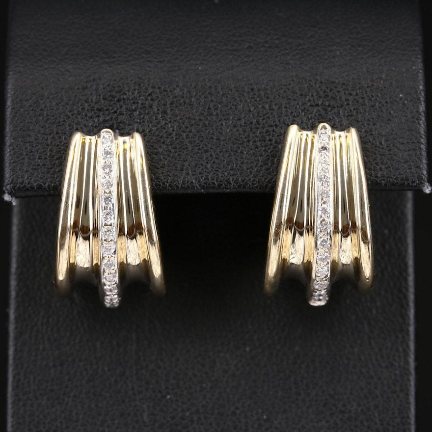 14K Diamond Fluted Hoop Earrings