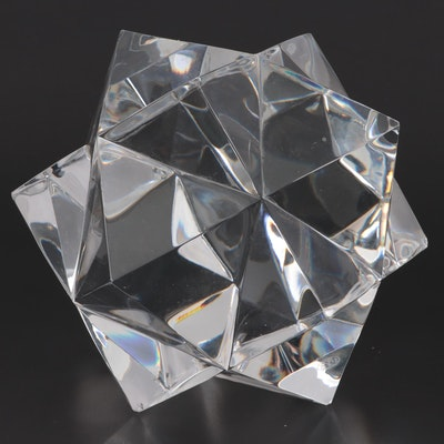 Baccarat Geometric Polyhedron Crystal Paperweight