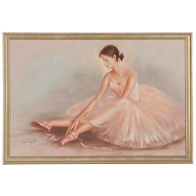 Oil Painting of a Ballerina Tying Pointe Shoes