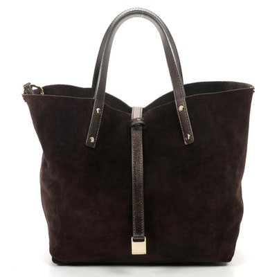 Tiffany & Co. Reversible Tote in Bronze Metallic and Brown Suede with Pochette