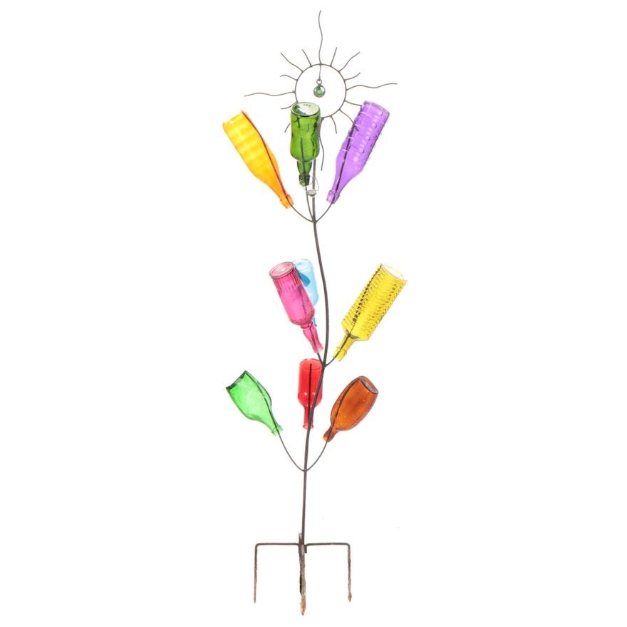 Iron Sun Motif Garden Bottle Tree