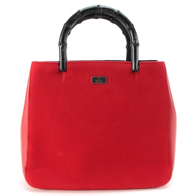 Gucci Red Felt and Smooth Leather Handbag with Black Bamboo Handles
