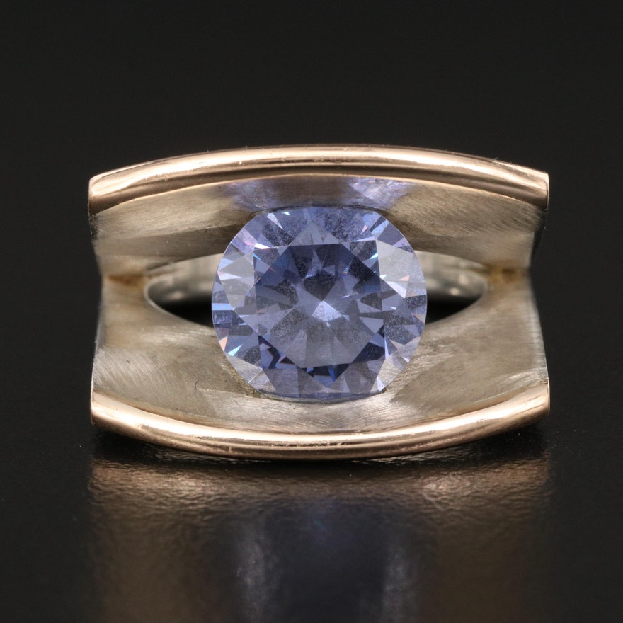 Tomasz Plodowski Sterling Tension Ring with Matte Finish and 14K Accents