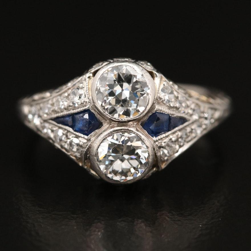 Edwardian Platinum 1.42 CTW Diamond and Sapphire Ring
