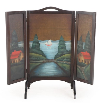 Paint-Decorated Three-Panel Folding Fire Screen, Early 20th Century