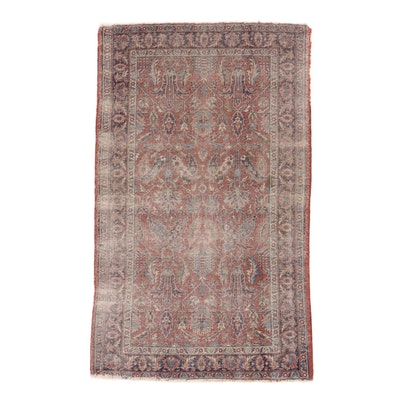 4'3 x 7'1 Hand-Knotted Turkish Oushak Village Rug, 1920s