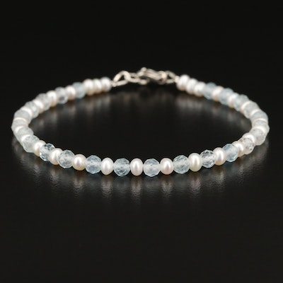 Sterling Aquamarine and Pearl Bracelet
