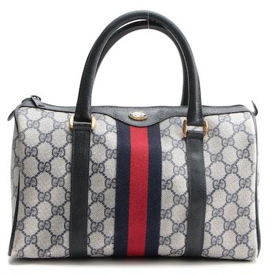 Gucci Accessory Collection Boston Bag in Navy GG Supreme Canvas