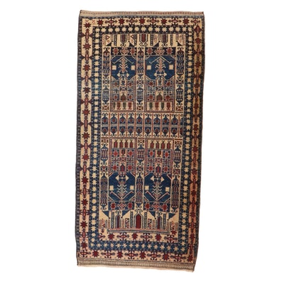 3'5 x 7' Hand-Knotted Persian Baluch Rug, 1920s