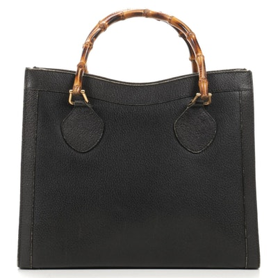 Gucci Bamboo Handled Tote in Black Grained Leather