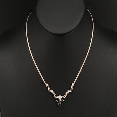 10K Sapphire and Diamond Necklace