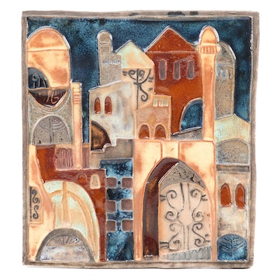 Ruth Faktor Hand-Painted Glazed Ceramic Wall Plaque