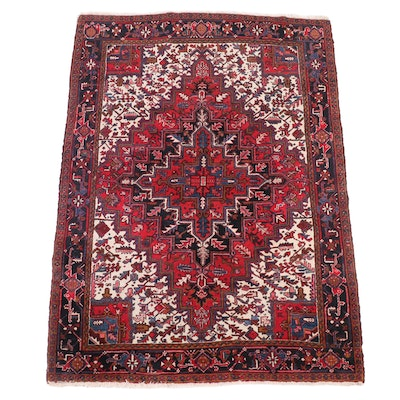 7'6 x 10'8 Hand-Knotted Persian Heriz Wool Area Rug
