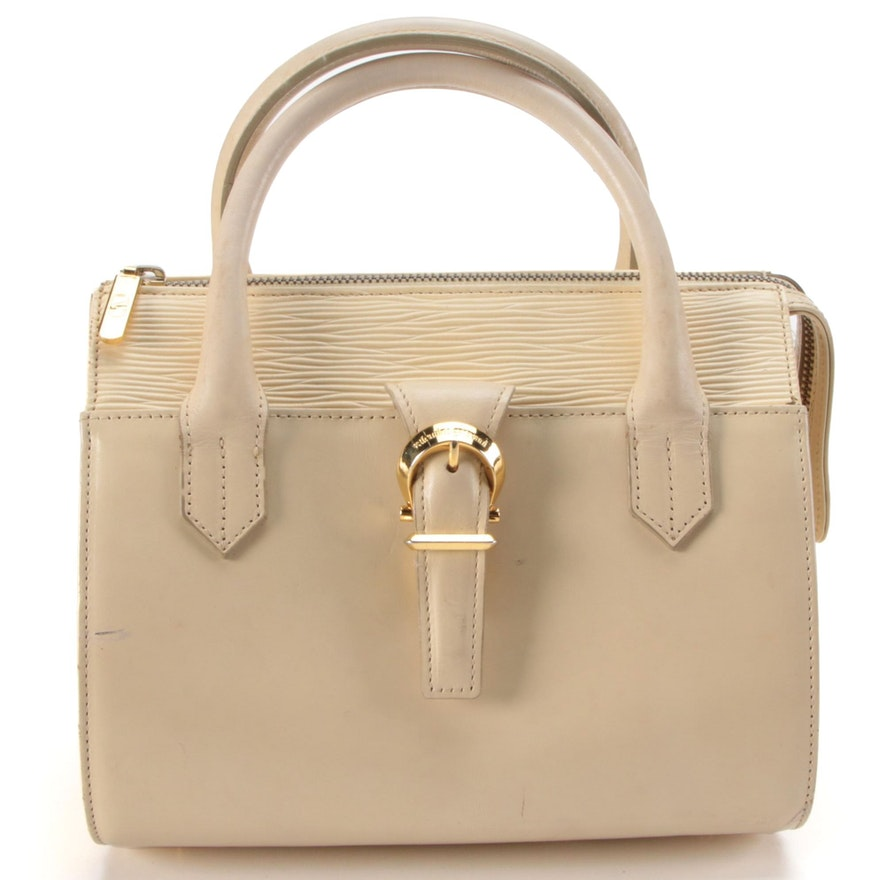 Valentino Garavani Top Handle Bag in Cream Leather with Crossbody Strap