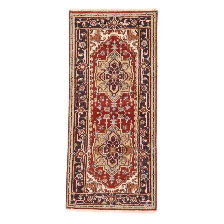 2'8 x 6'1 Hand-Knotted Indo-Persian Heriz Serapi Rug, 2010s