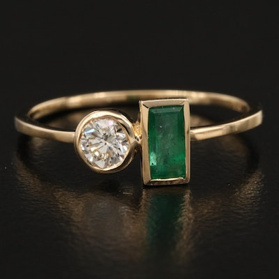 18K Emerald and Diamond Geometric Ring