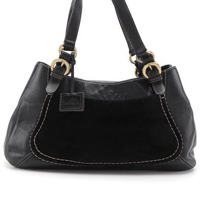Via Spiga Satchel in Black Suede and Grained Leather