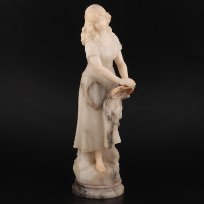 Carved Marble and Bonded Stone Sculpture of Woman with Tambourine