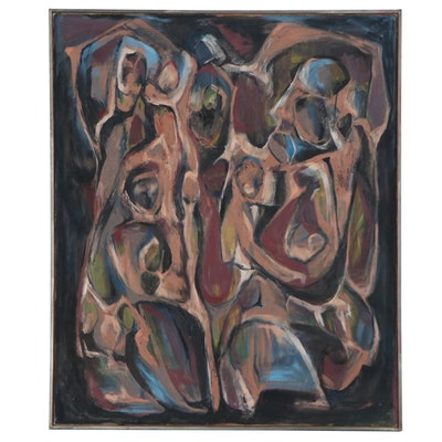 Anita Robertson Beach Abstract Figural Oil Painting, 1968