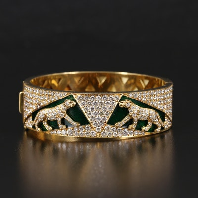 18K 9.93 CTW Diamond Pavé and Guilloché Enamel Panther Hinged Bangle