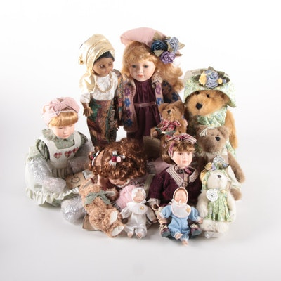 Porcelain and Plastic Dolls with Boyds Bears, Late 20th Century