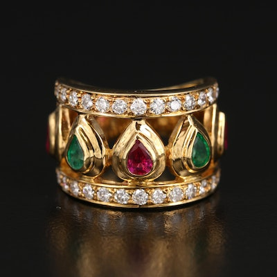 18K Ruby, Emerald and Diamond Openwork Ring