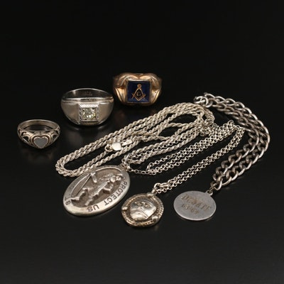 Italian Sterling St. Christopher Necklace, Mason Ring and Other Jewelry