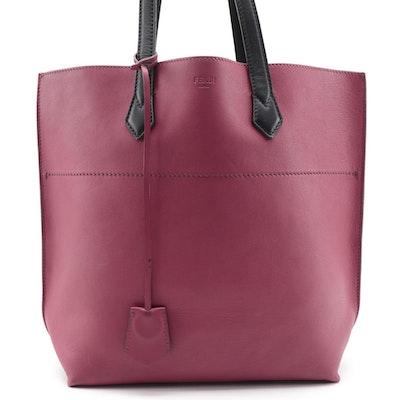 Fendi All In Small Shopper Tote in Magenta/Black Leather