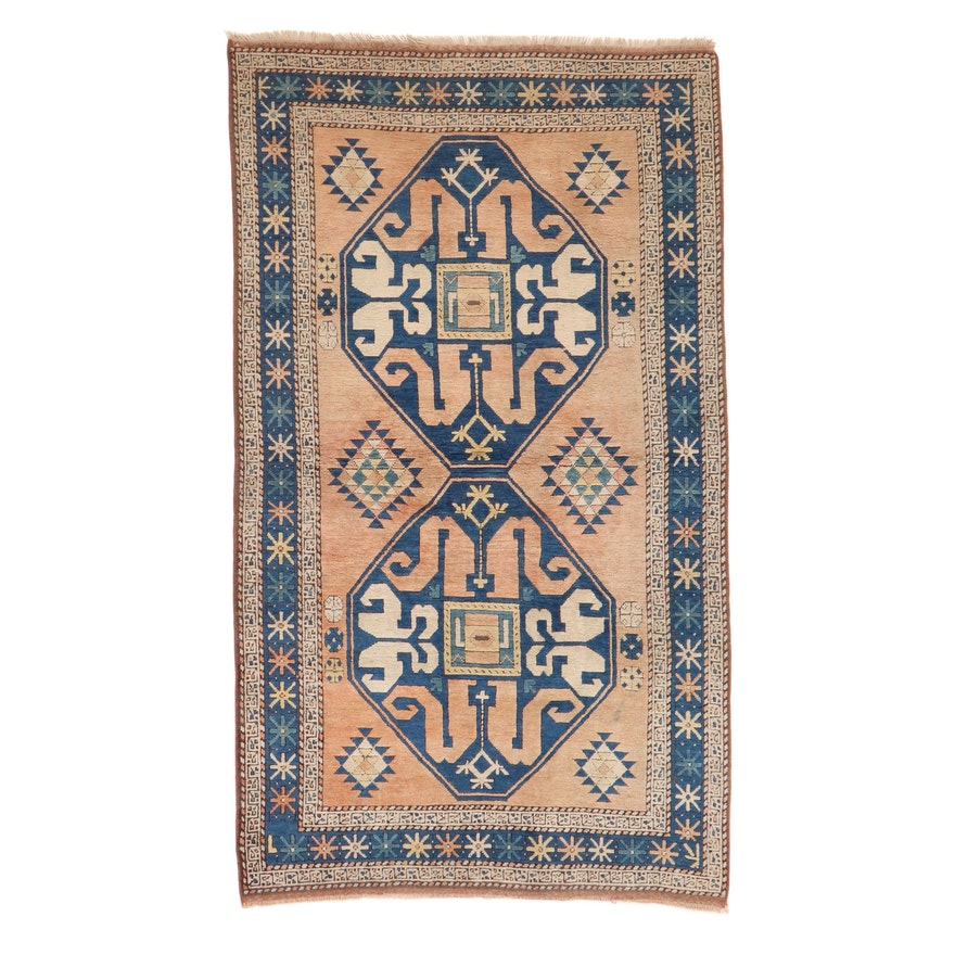4'6 x 7'10 Hand-Knotted Turkish-Caucasian Village Rug, 1960s