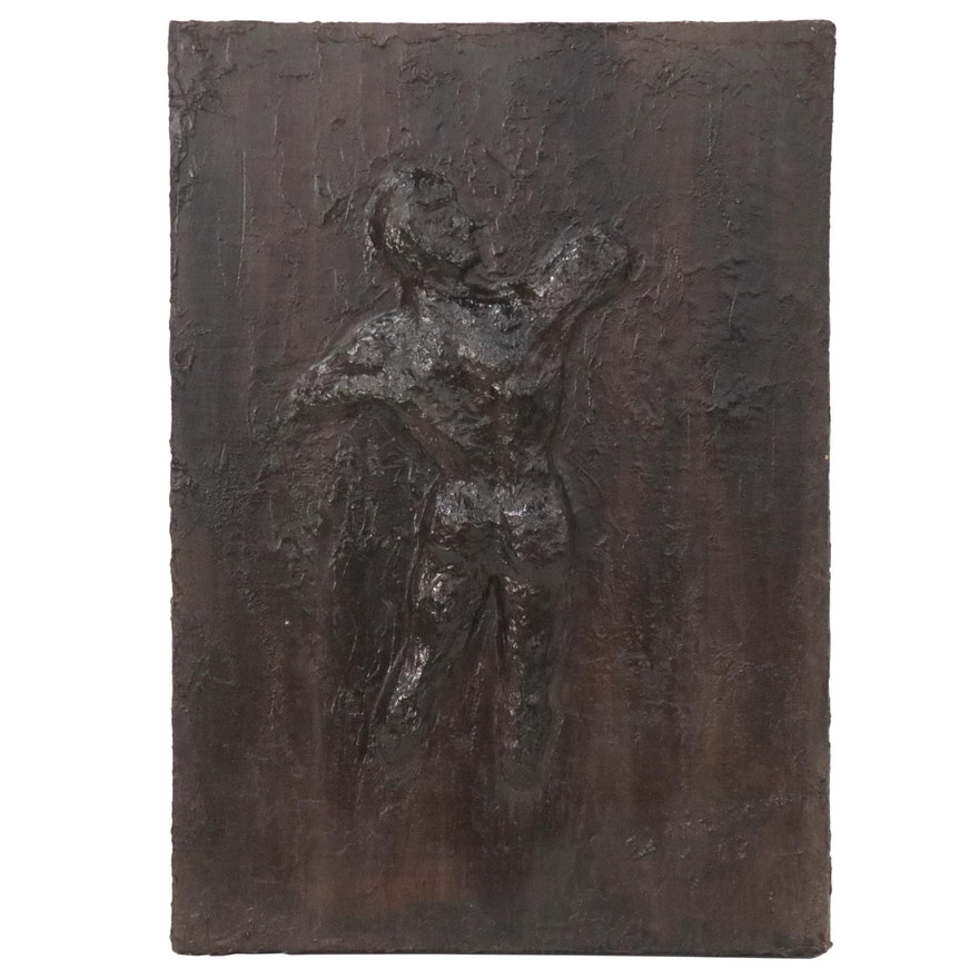Ed Malcolm Painted Papier-mâché Relief Sculpture of Nude Figure, 1967