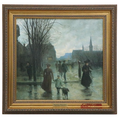 "Offset Lithograph after Robert Koehler ""Rainy Evening on Hennepin Avenue"""