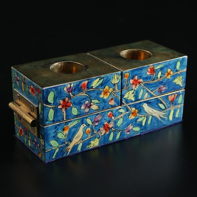 Yair Emanuel  Hand-Painted Lacquered Shabbat Candle Holders, Mid-20th C.