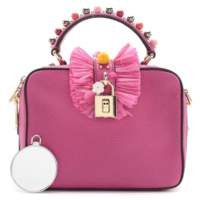Dolce & Gabbana Embellished Pom-Pom Pink Grained Leather Two-Way Box Satchel