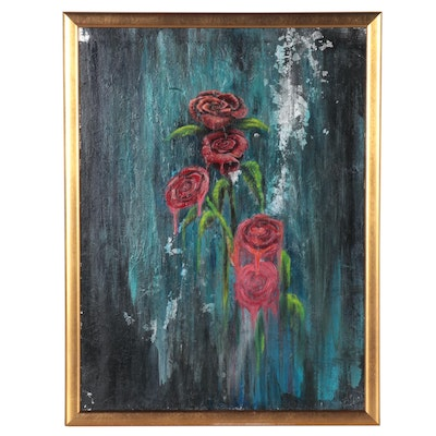 Mixed Media Painting of Roses, Late 20th Century