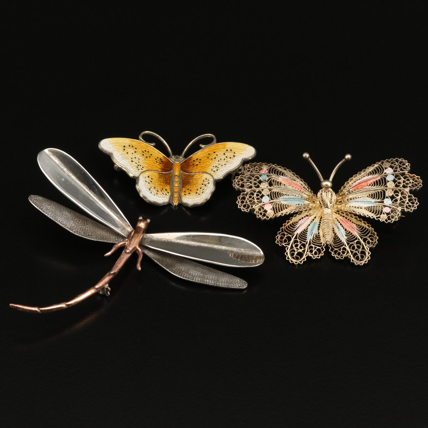 Vintage Butterfly and Dragonfly Brooches Featuring Hroar Prydz of Norway
