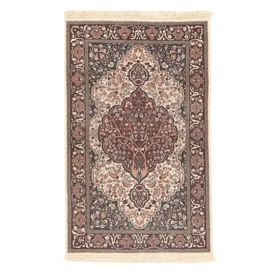 3' x 5'3 Hand-Knotted Indo-Kashmir Persian Tabriz Art Silk Rug, 2000s