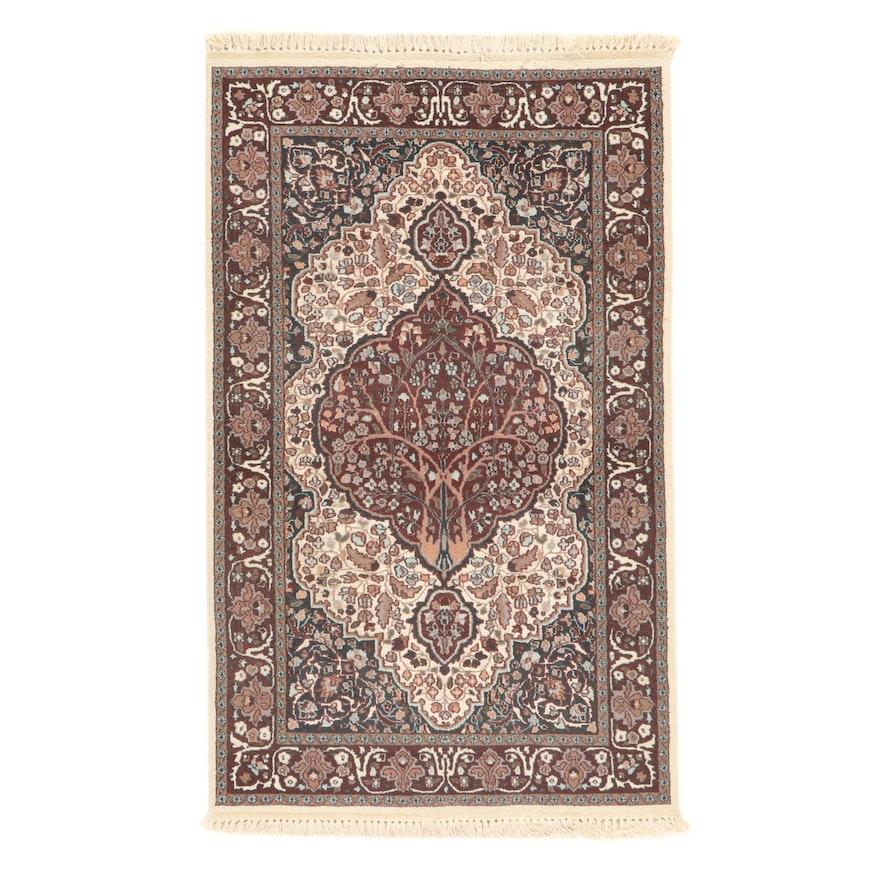 3' x 5'3 Hand-Knotted Indo-Kashmir Persian Tabriz Art Silk Rug, 2000s