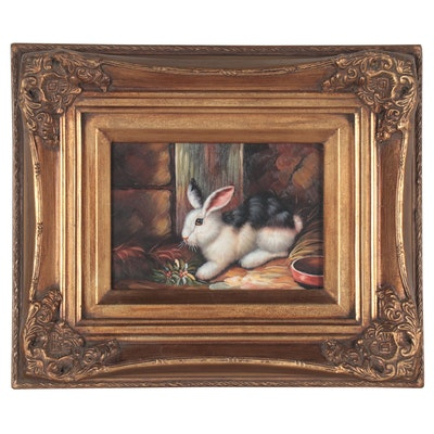 Oil Painting of Rabbit in Barn, Mid-Late 20th Century