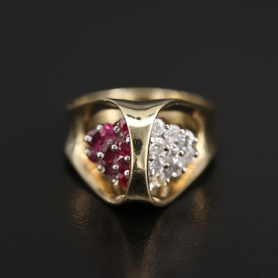 Modernist 14K Ruby and Diamond Ring
