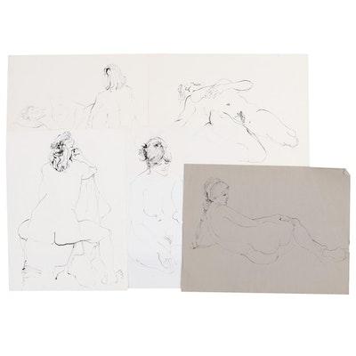 John Tuska Female Nude Figure Study Nude Ink Drawings