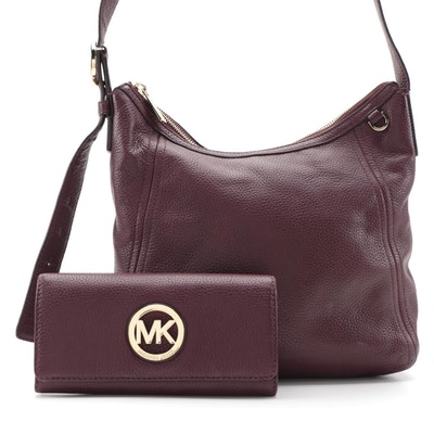 Michael Kors Crossbody Bag and Matching Monogram Wallet in Grained Leather