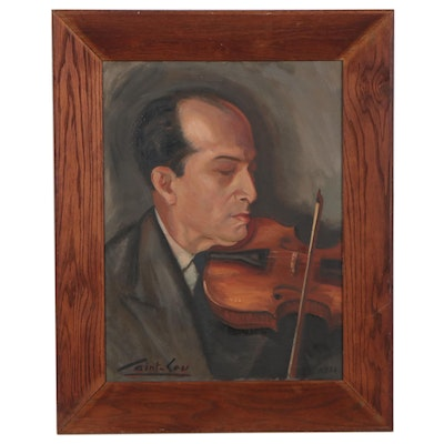 Portrait Oil Painting of Violinist, 1952