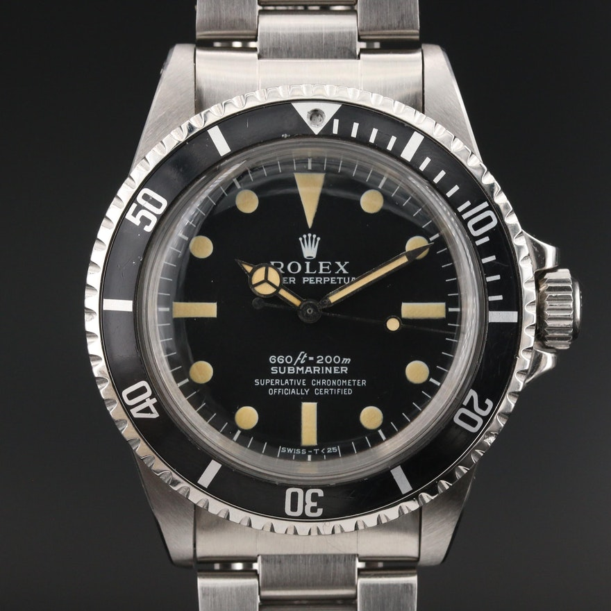 1967 Rolex Submariner Stainless Steel Automatic Wristwatch