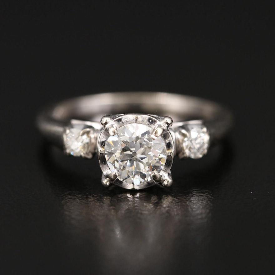 Vintage 14K Diamond Three Stone Ring