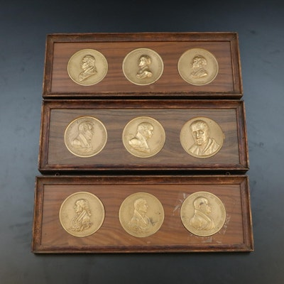 Nine Framed Bronze Presidential Commemorative Medals