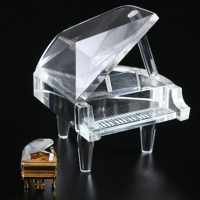 Swarovski Crystal Miniature Piano with Other Piano Figurine