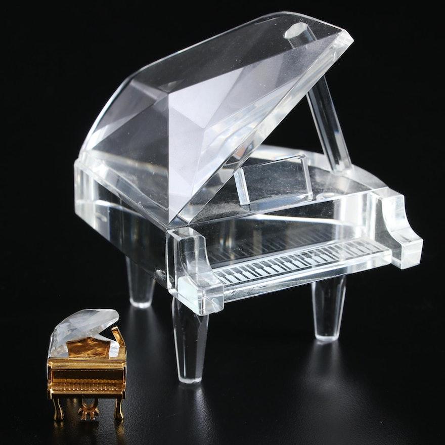 Swarovski Crystal Miniature Piano with Other Piano Figurine