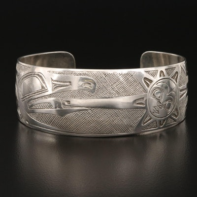 Danny Dennis for Metal Arts Group Sterling Raven and Sun Storyteller Cuff
